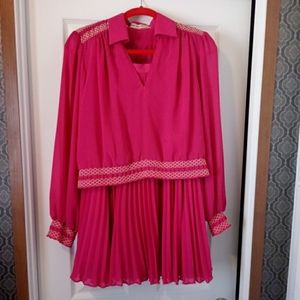 Vintage Custom Pink Smocked Top Pleated Skirt Set